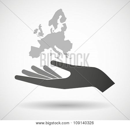Isolated Vector Hand Giving  A Map Of Europe