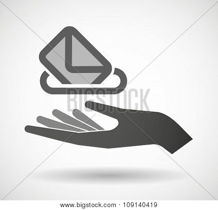Isolated Vector Hand Giving  A Ballot Box