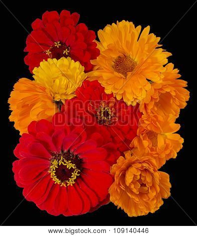 A Bouquet Of Bright Flowers Calendula And Zinnias