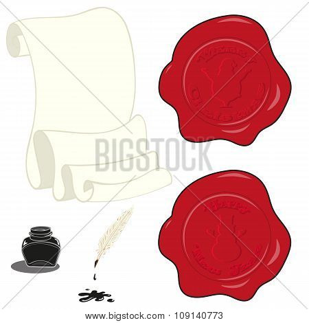 Set Vectors Design Elements Christmas Holiday Stamp, Paper Roll, Inkwell And Pen Isolated On White B