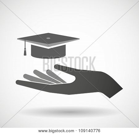 Isolated Vector Hand Giving A Graduation Cap