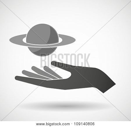 Isolated Vector Hand Giving The Planet Saturn