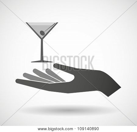 Isolated Vector Hand Giving A Cocktail Glass