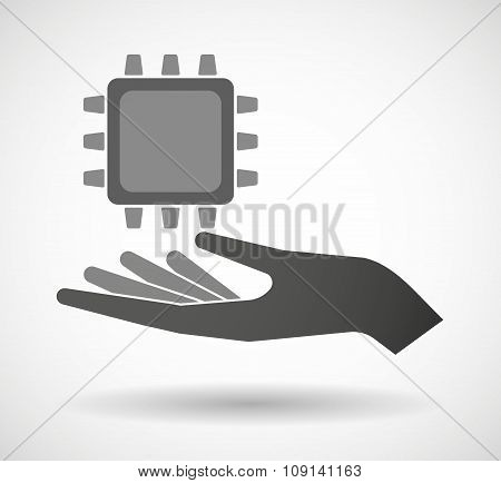 Isolated Vector Hand Giving A Cpu