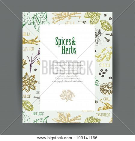 Vector Card With Spices And Place For Your Text