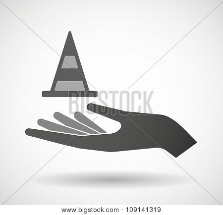 Isolated Vector Hand Giving A Road Cone