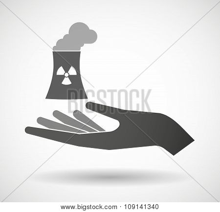 Isolated Vector Hand Giving A Nuclear Power Station