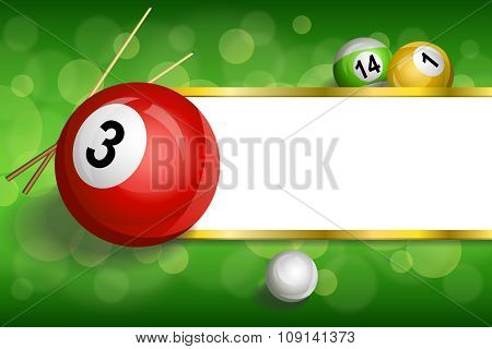 Background abstract green billiards pool cue red ball frame stripes gold illustration vector