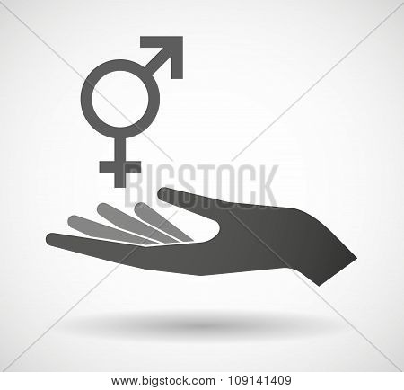 Isolated Vector Hand Giving A Transgender Symbol