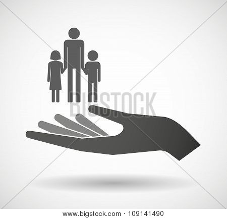 Isolated Vector Hand Giving A Male Single Parent Family Pictogram