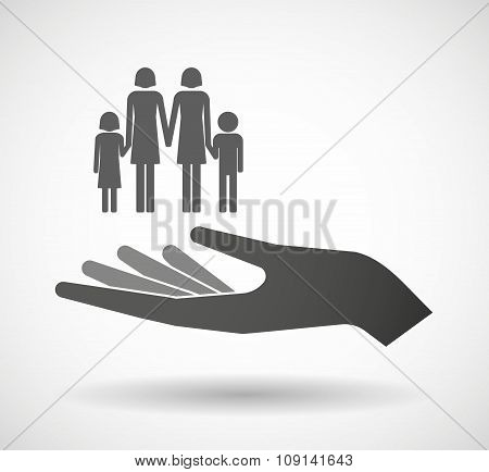 Isolated Vector Hand Giving A Lesbian Parents Family Pictogram