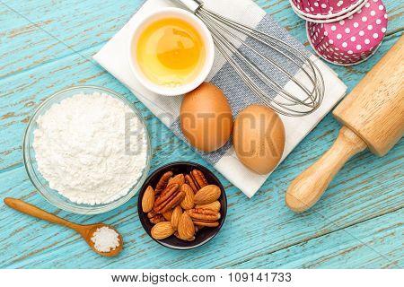 Baking Ingredients On Wood Table