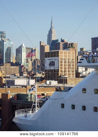 Cruise Ship Anchored At Midtown Manhattan