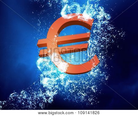 Euro sign sink in clear blue water