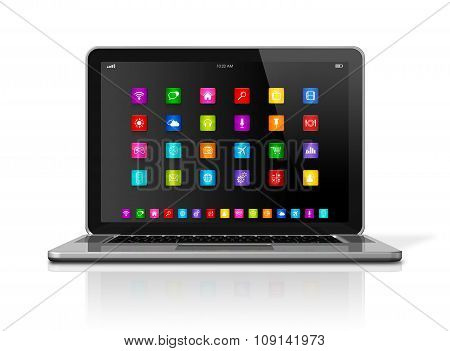 Laptop Computer With Apps Icons Interface