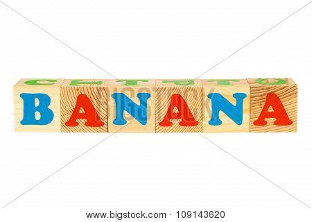 Wood cube with inscription BANANA