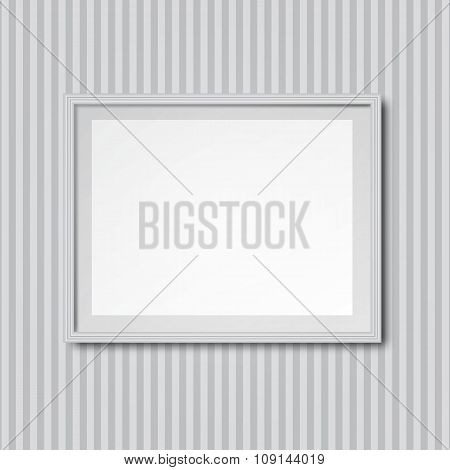 White striped wall with frame