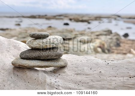 Stones On Driftwood
