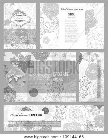 Set of business templates for presentation, brochure, flyer, banner or booklet. Hand drawn floral do