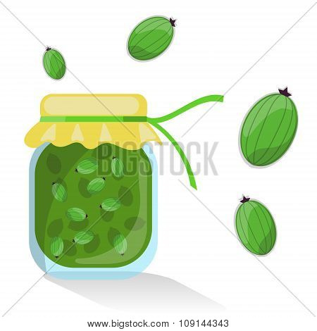 Vector isolated gooseberry jam with gooseberries