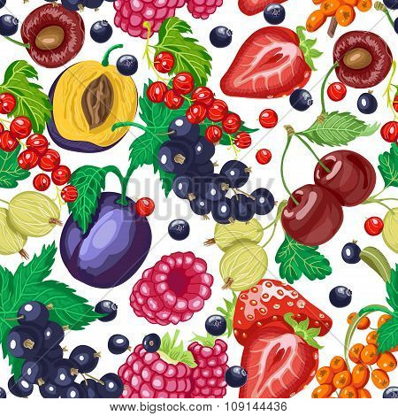 Seamless Pattern With Garden Berries On A White Background