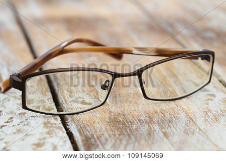 Glasses on rustic wooden surface