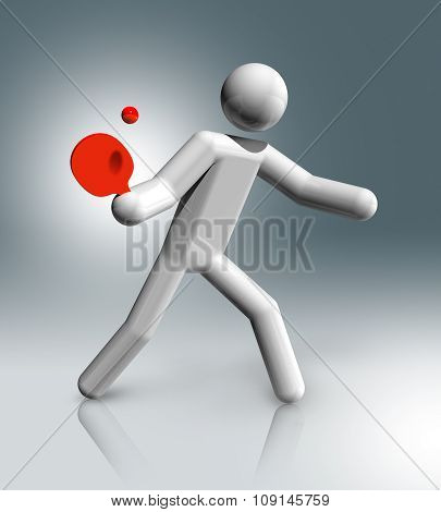 Table Tennis 3D Symbol, Olympic Sports