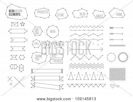 Ultimate design elements blog kit. For your graphic projects, print and internet. Buttons, dividers,