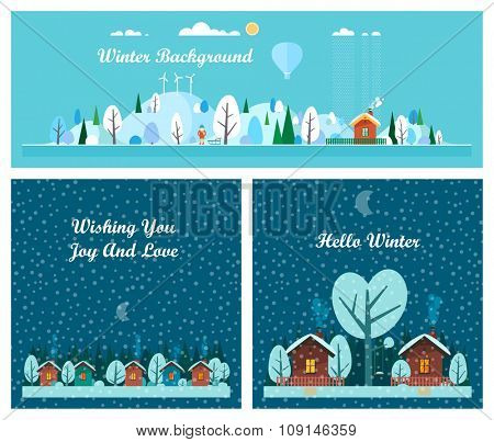 Winter set - winter landscape, holiday village. Flat style