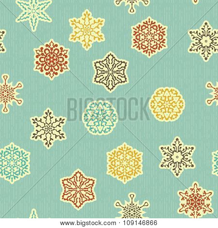 Vector Seamless Pattern With  Highly Detailed Paper Cut Snowflakes