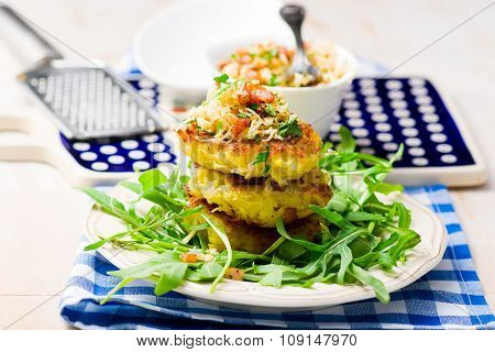Potato Fritters With A Green Salad
