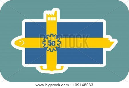 sweden national flag with icons