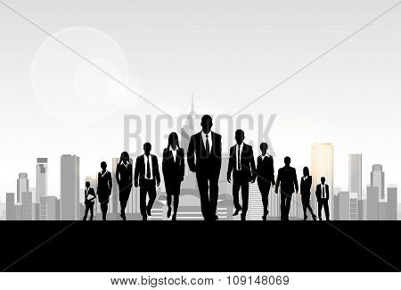 Business People Group Silhouette, Businesspeople Walk Forward City Modern Office Buildings
