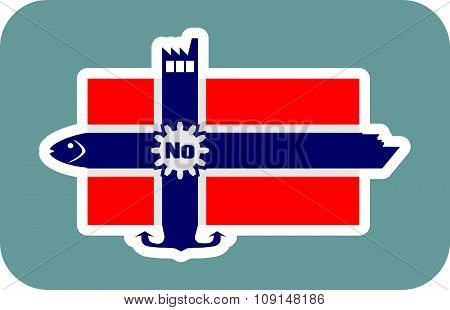 Norway national flag with icons