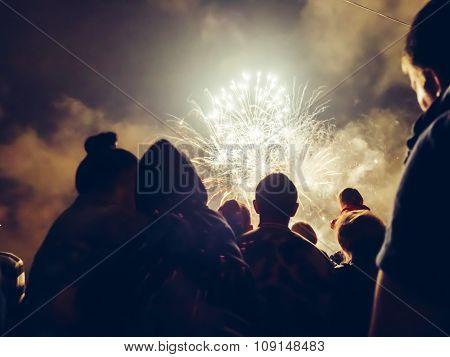 Crowd Wathcing Fireworks