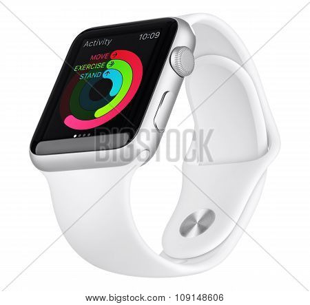 Apple Watch Sport 42Mm Silver Aluminum Case With White Sport Band Bottom Up View