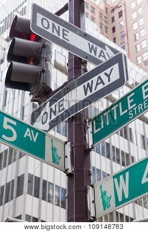 Street Signs For Fifth Avenue In New York City