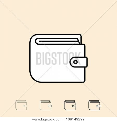 Wallet icon. Vector icon in four different thickness. Linear style