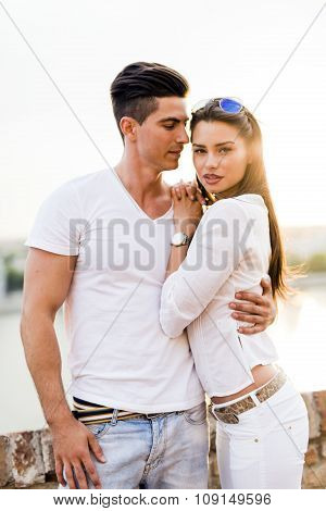 Glamour Couple Posing Outdoors