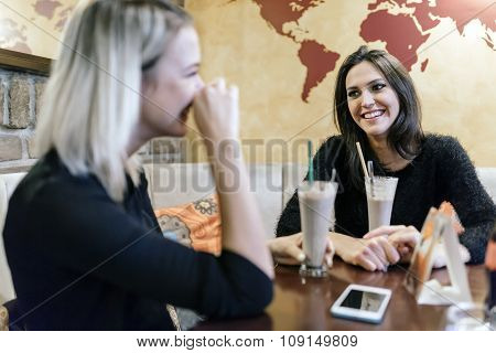 Two Women Drinking And Talking In Cafe