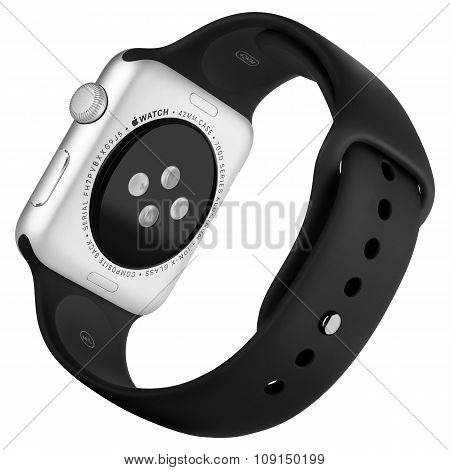 Apple Watch Sport 42Mm Silver Aluminum Case With Black Sport Band Back View