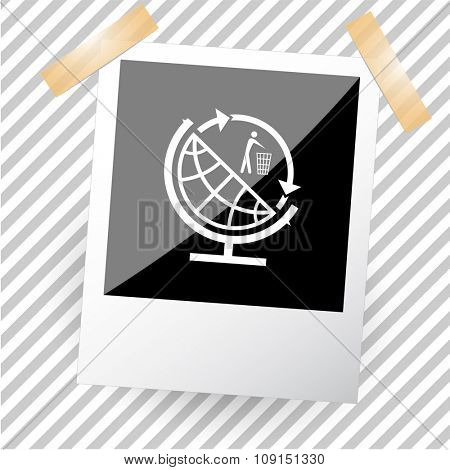 globe and recycling symbol. Photoframe. Raster icon.