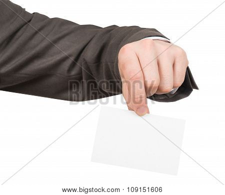 Businessman holding small blank paper