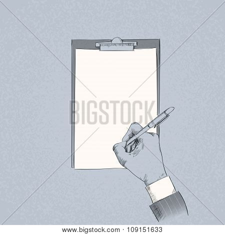 Business Man Hand Hold Pen Write Sign Up Contract Paper Document