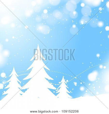 Abstract christmas trees with blue snow background