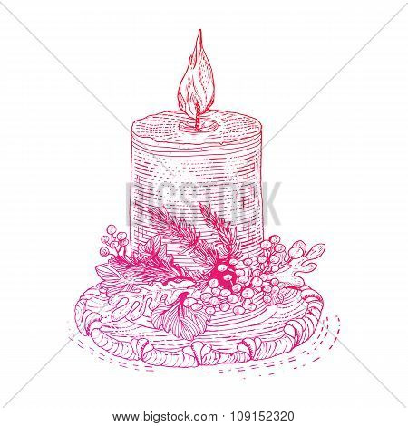 Bright Ink drawn engraving style candle