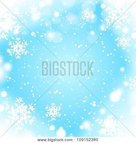 Winter blue background with snowflake border