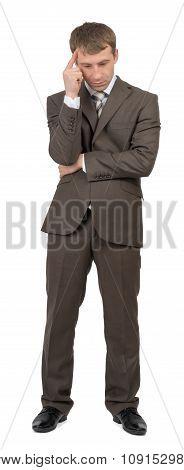 Thinking businessman on white