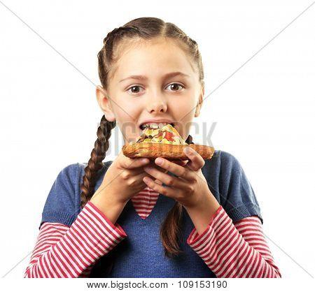 Little girl eating pizza isolated on white