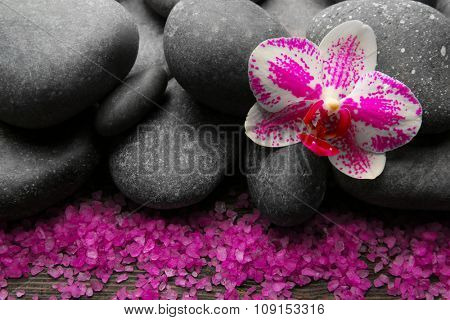 Spa stones and orchid closeup